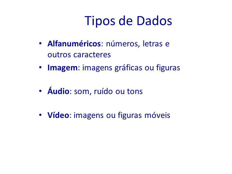 Tipos de Dados Alfanuméricos: números, letras e outros caracteres Imagem: imagens gráficas ou figuras Áudio: som, ruído ou tons Vídeo: imagens ou figu