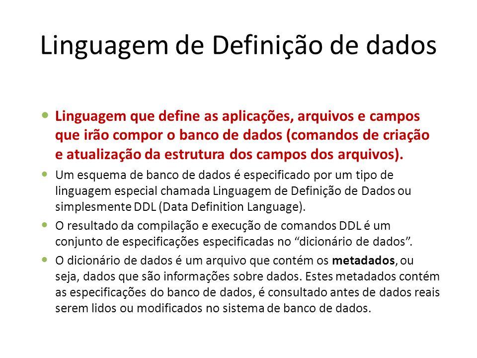 Linguagem de Definição de dados Linguagem que define as aplicações, arquivos e campos que irão compor o banco de dados (comandos de criação e atualiza