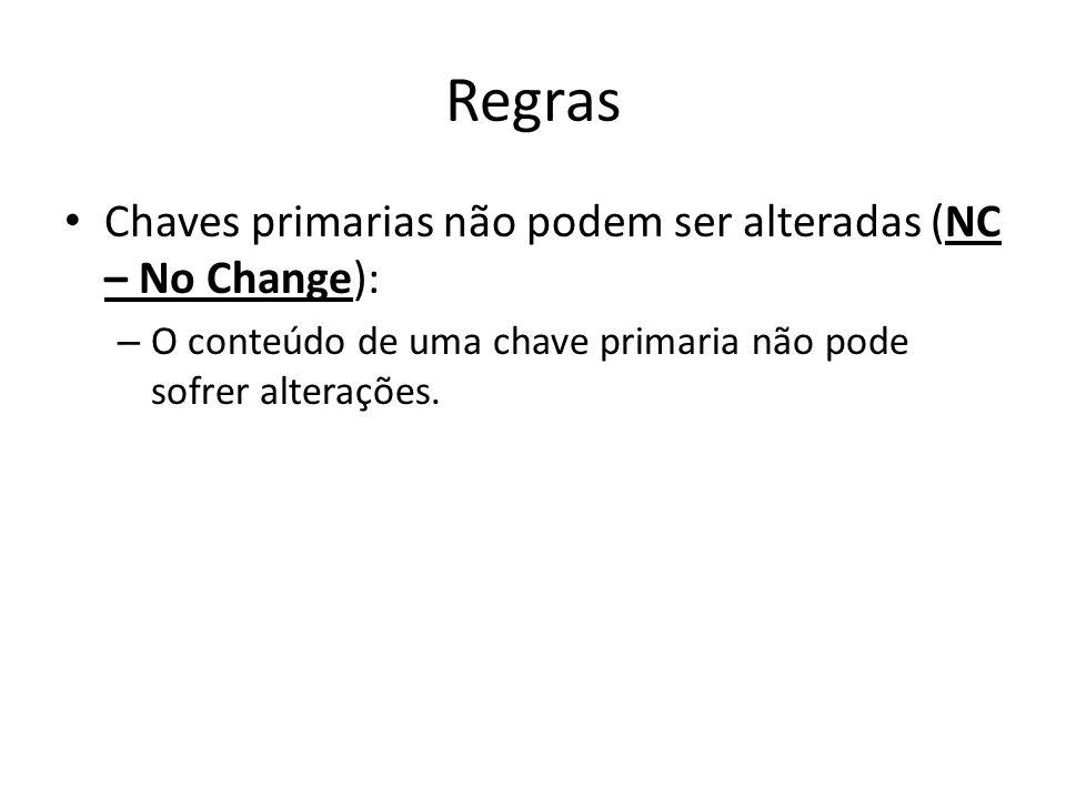 Regras Chaves primarias não podem ser alteradas (NC – No Change): – O conteúdo de uma chave primaria não pode sofrer alterações.