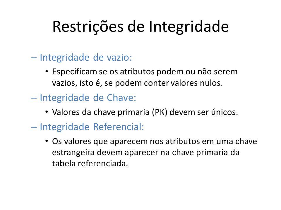 Restrições de Integridade – Integridade de vazio: Especificam se os atributos podem ou não serem vazios, isto é, se podem conter valores nulos. – Inte