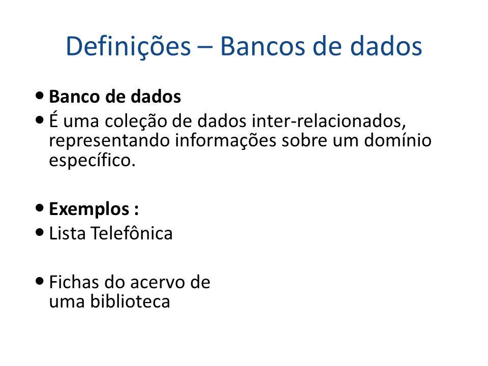 Definições – Bancos de dados Banco de dados É uma coleção de dados inter-relacionados, representando informações sobre um domínio específico. Exemplos