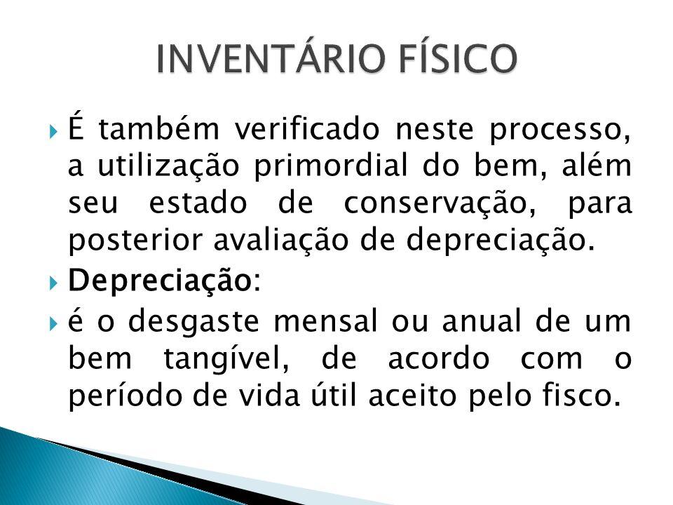 No processo de inventário físico dos bens, é verificado o real estado do mesmo, assim como a correta fixação de sua identificação com a plaqueta/etiqueta de patrimônio referente.