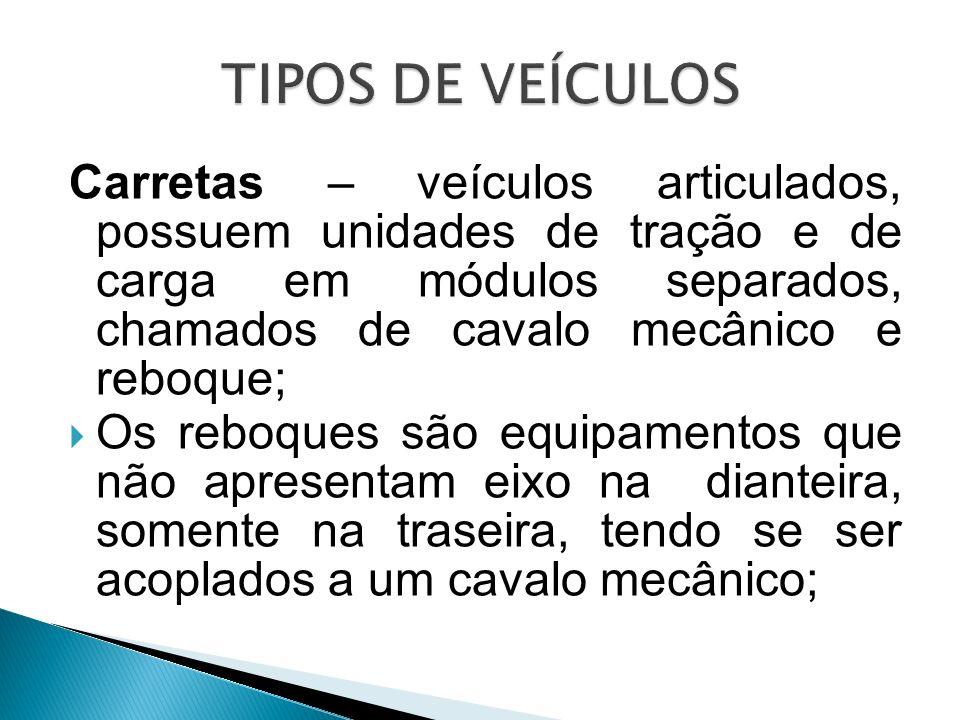 Carretas – veículos articulados, possuem unidades de tração e de carga em módulos separados, chamados de cavalo mecânico e reboque; Os reboques são eq