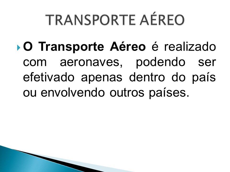 O Transporte Aéreo é realizado com aeronaves, podendo ser efetivado apenas dentro do país ou envolvendo outros países.