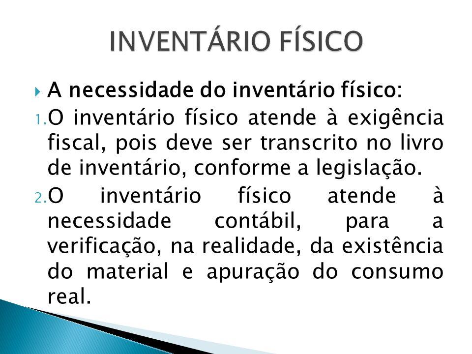 A necessidade do inventário físico: 1. O inventário físico atende à exigência fiscal, pois deve ser transcrito no livro de inventário, conforme a legi