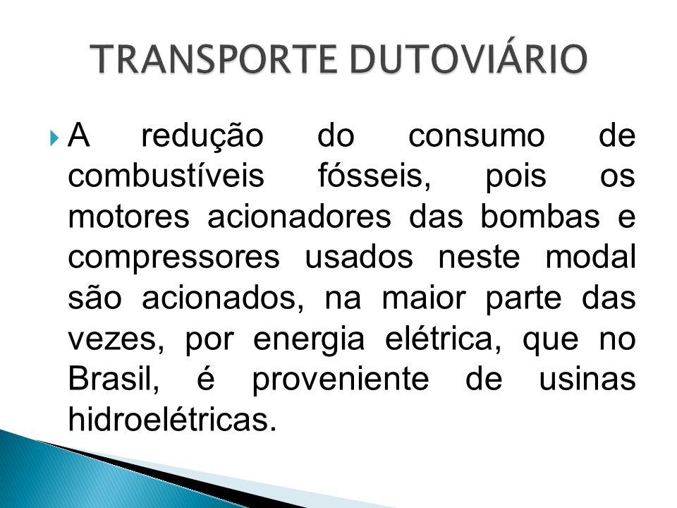 A redução do consumo de combustíveis fósseis, pois os motores acionadores das bombas e compressores usados neste modal são acionados, na maior parte d