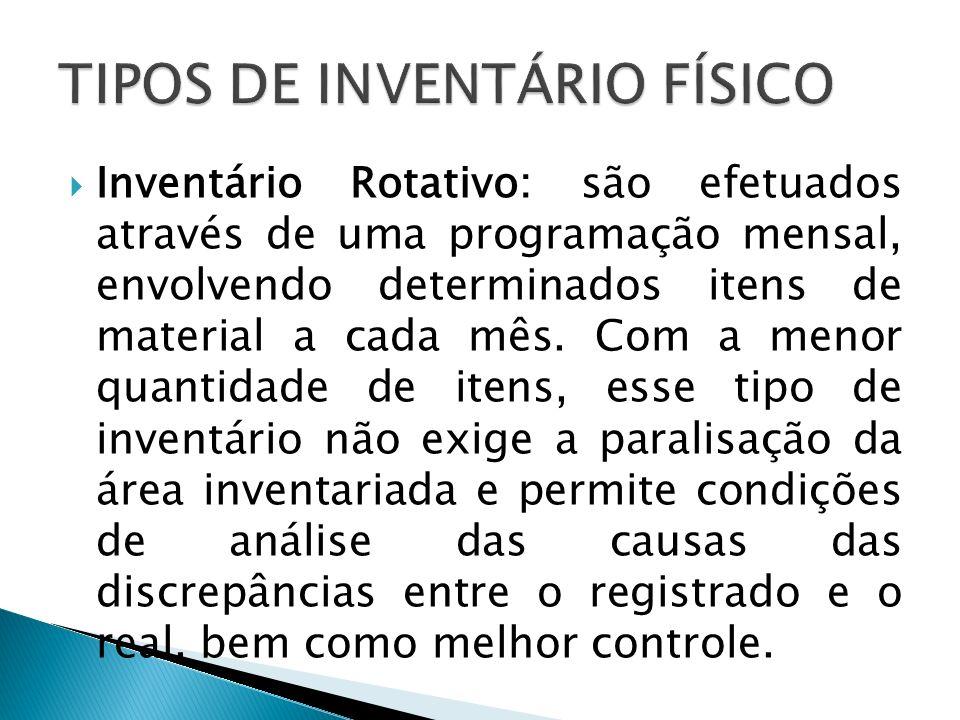 Inventário Rotativo: são efetuados através de uma programação mensal, envolvendo determinados itens de material a cada mês. Com a menor quantidade de
