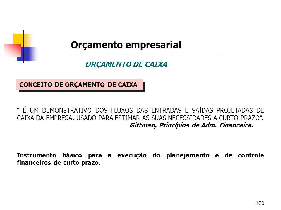 100 Orçamento empresarial ORÇAMENTO DE CAIXA CONCEITO DE ORÇAMENTO DE CAIXA É UM DEMONSTRATIVO DOS FLUXOS DAS ENTRADAS E SAÍDAS PROJETADAS DE CAIXA DA