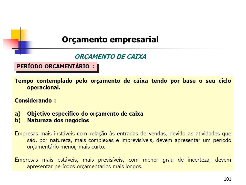 101 Orçamento empresarial ORÇAMENTO DE CAIXA PERÍODO ORÇAMENTÁRIO : Tempo contemplado pelo orçamento de caixa tendo por base o seu ciclo operacional.