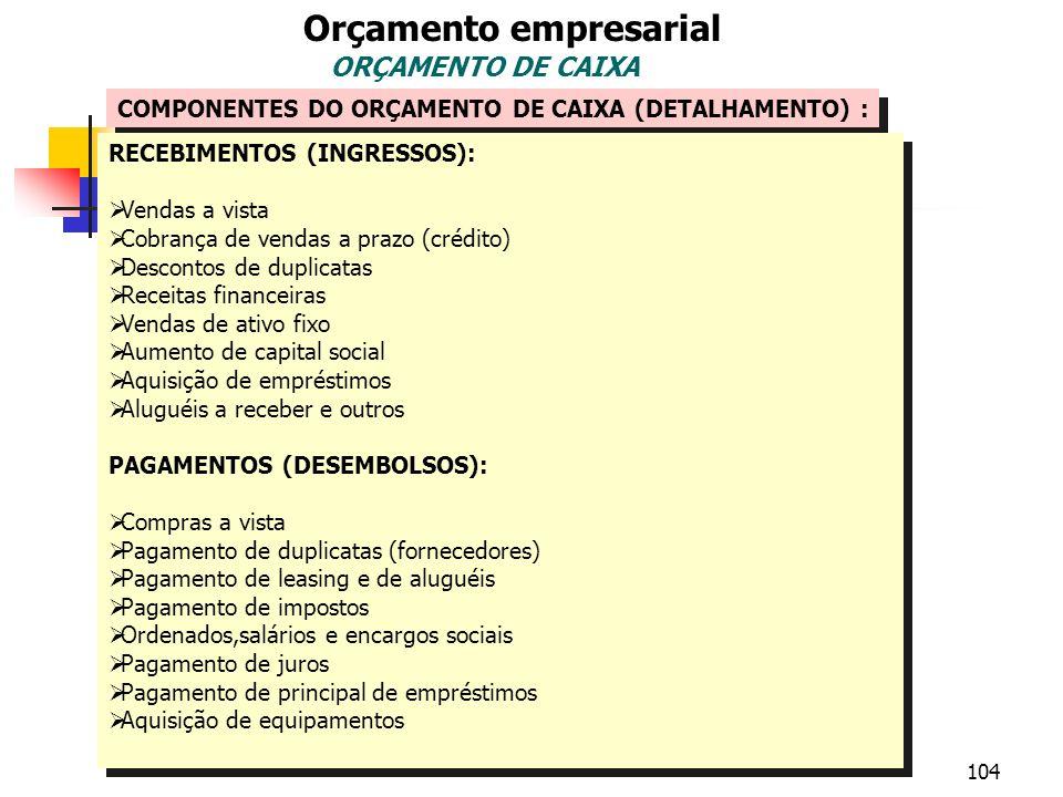 104 Orçamento empresarial ORÇAMENTO DE CAIXA COMPONENTES DO ORÇAMENTO DE CAIXA (DETALHAMENTO) : RECEBIMENTOS (INGRESSOS): Vendas a vista Cobrança de v