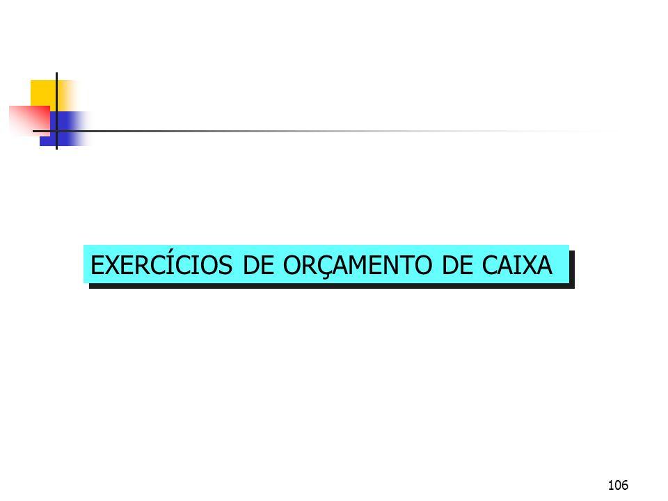 106 EXERCÍCIOS DE ORÇAMENTO DE CAIXA