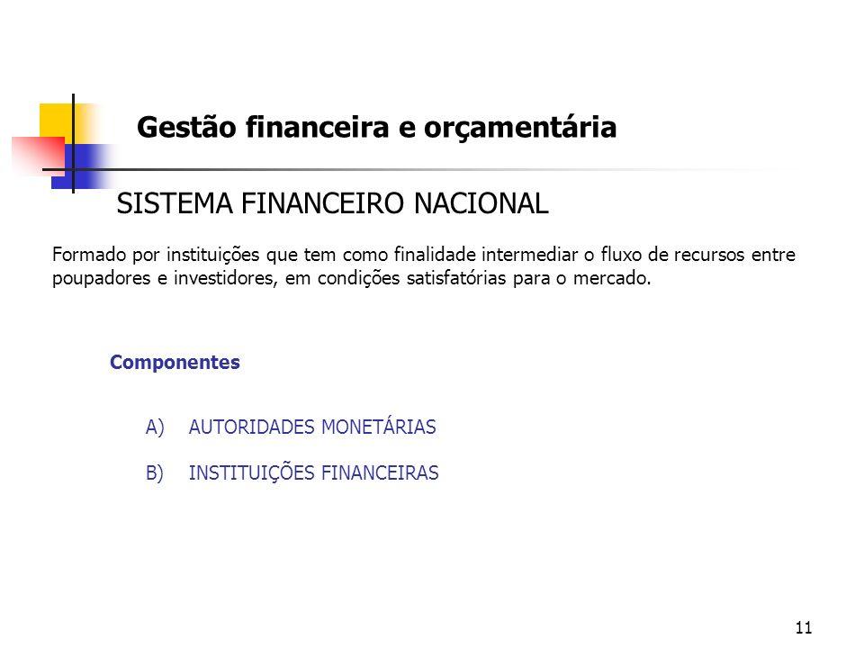 11 Gestão financeira e orçamentária SISTEMA FINANCEIRO NACIONAL Formado por instituições que tem como finalidade intermediar o fluxo de recursos entre