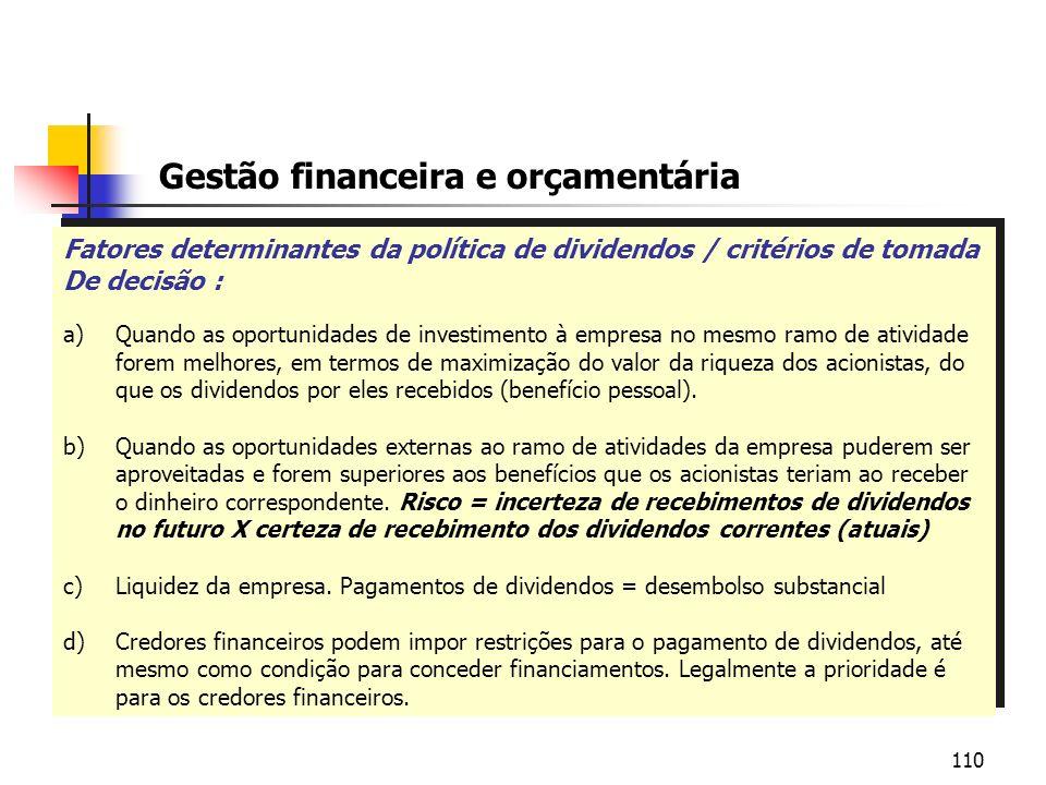 110 Gestão financeira e orçamentária Fatores determinantes da política de dividendos / critérios de tomada De decisão : a)Quando as oportunidades de i