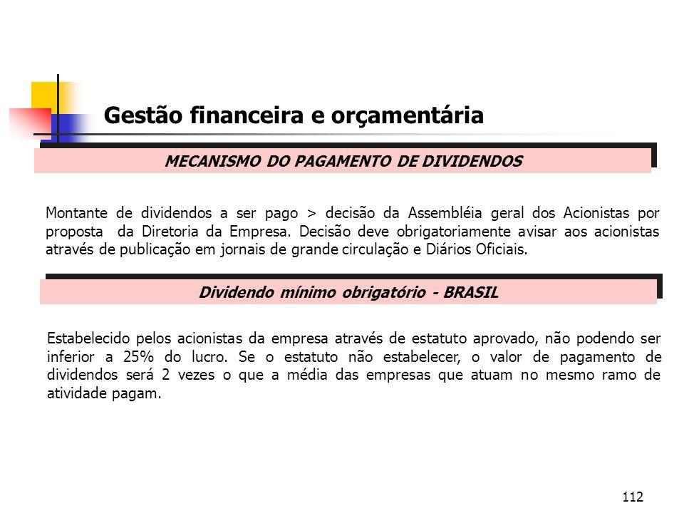112 MECANISMO DO PAGAMENTO DE DIVIDENDOS Gestão financeira e orçamentária Montante de dividendos a ser pago > decisão da Assembléia geral dos Acionist