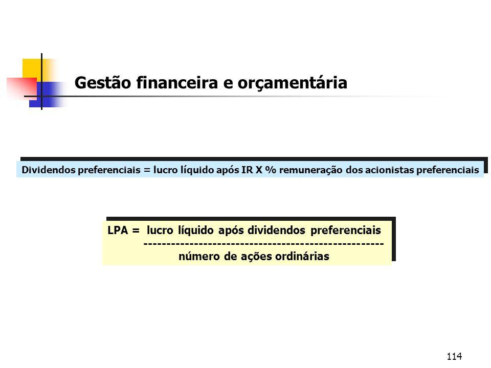 114 Gestão financeira e orçamentária Dividendos preferenciais = lucro líquido após IR X % remuneração dos acionistas preferenciais LPA = lucro líquido