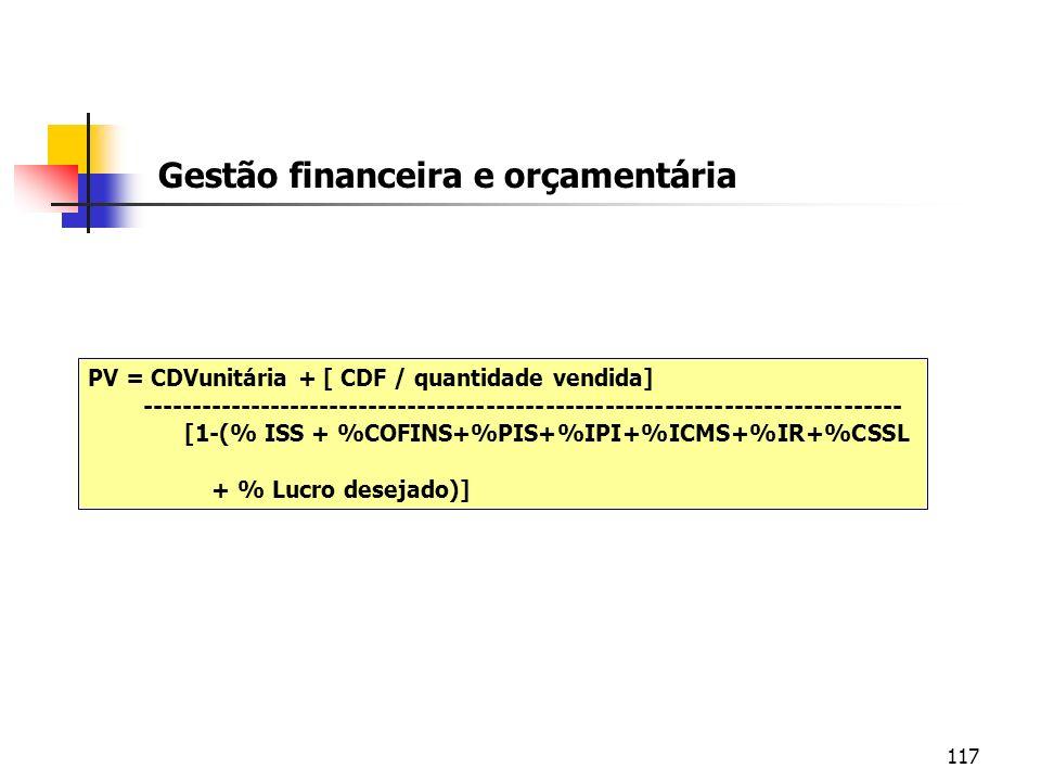 117 Gestão financeira e orçamentária PV = CDVunitária + [ CDF / quantidade vendida] ------------------------------------------------------------------