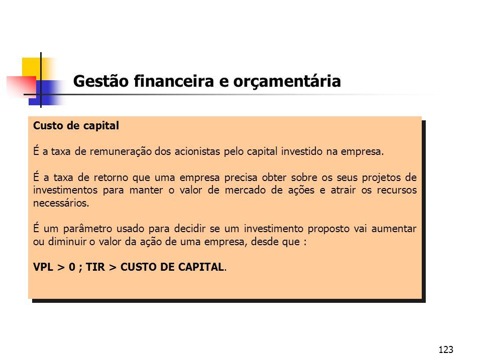 123 Custo de capital É a taxa de remuneração dos acionistas pelo capital investido na empresa. É a taxa de retorno que uma empresa precisa obter sobre