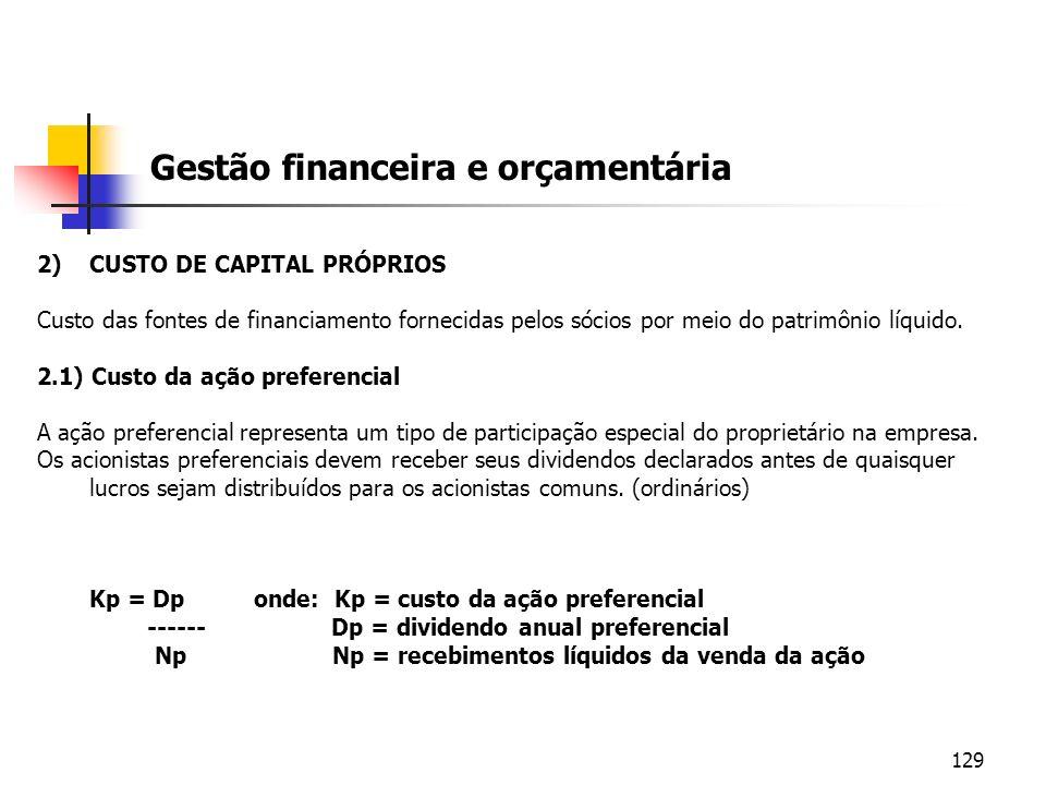 129 Gestão financeira e orçamentária 2)CUSTO DE CAPITAL PRÓPRIOS Custo das fontes de financiamento fornecidas pelos sócios por meio do patrimônio líqu