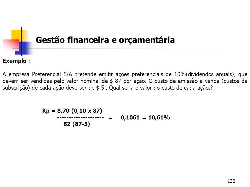 130 Gestão financeira e orçamentária Exemplo : A empresa Preferencial S/A pretende emitir ações preferenciais de 10%(dividendos anuais), que devem ser