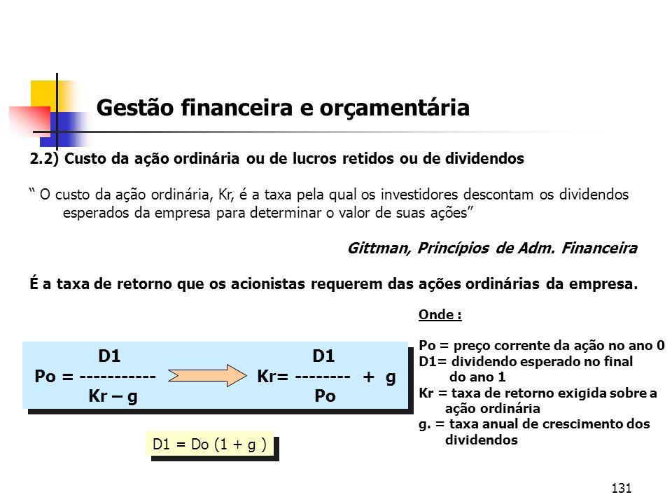 131 Gestão financeira e orçamentária 2.2) Custo da ação ordinária ou de lucros retidos ou de dividendos O custo da ação ordinária, Kr, é a taxa pela q