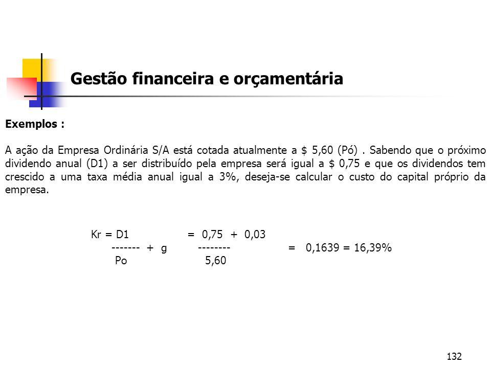 132 Gestão financeira e orçamentária Exemplos : A ação da Empresa Ordinária S/A está cotada atualmente a $ 5,60 (Pó). Sabendo que o próximo dividendo