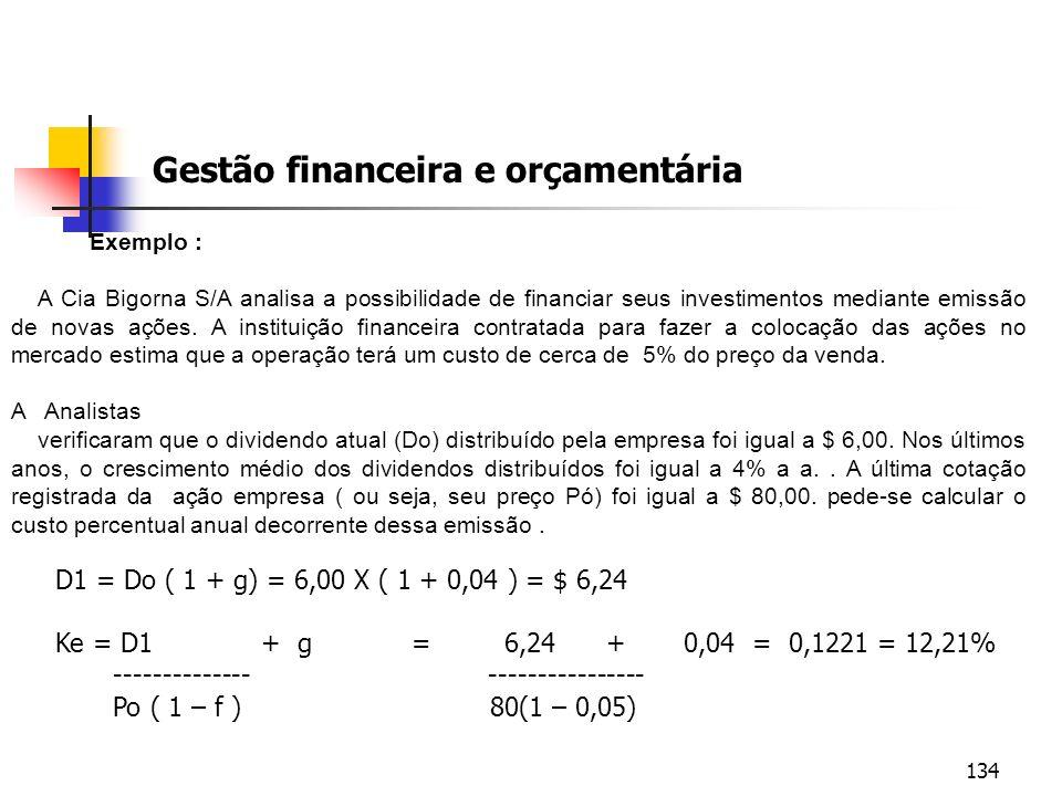 134 Gestão financeira e orçamentária Exemplo : A Cia Bigorna S/A analisa a possibilidade de financiar seus investimentos mediante emissão de novas açõ