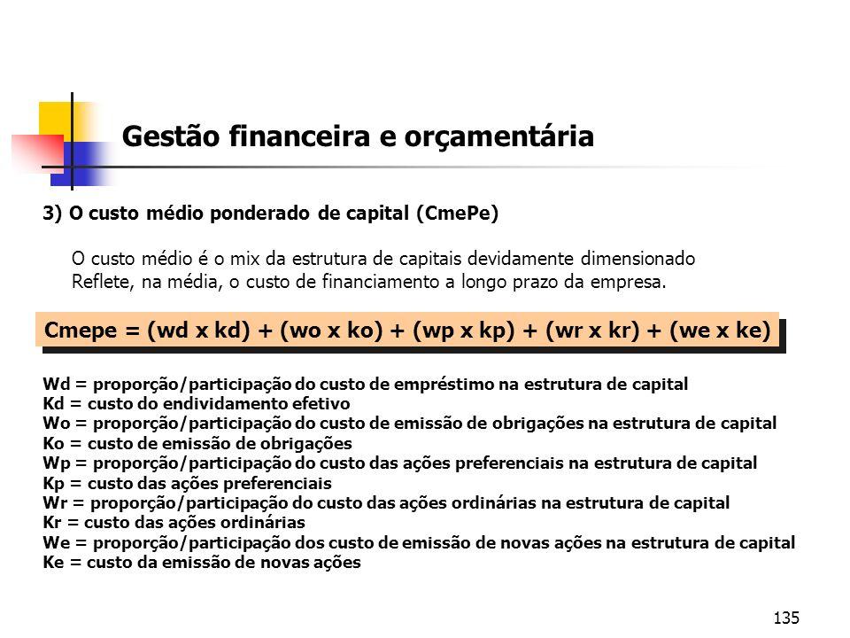 135 Gestão financeira e orçamentária 3) O custo médio ponderado de capital (CmePe) O custo médio é o mix da estrutura de capitais devidamente dimensio