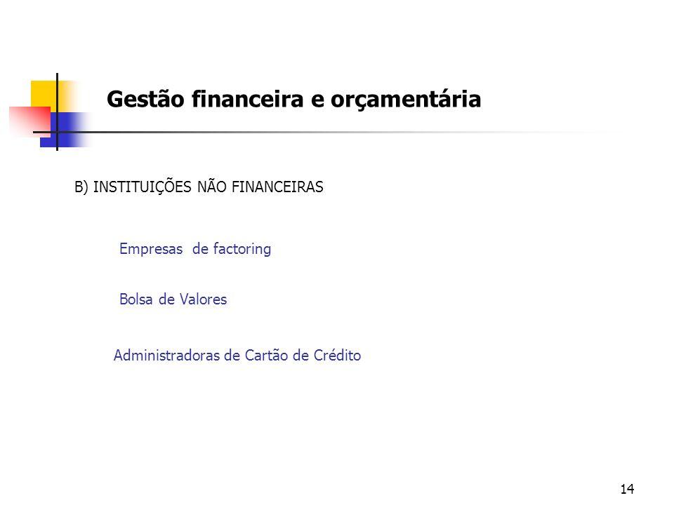 14 Gestão financeira e orçamentária B) INSTITUIÇÕES NÃO FINANCEIRAS Empresas de factoring Bolsa de Valores Administradoras de Cartão de Crédito