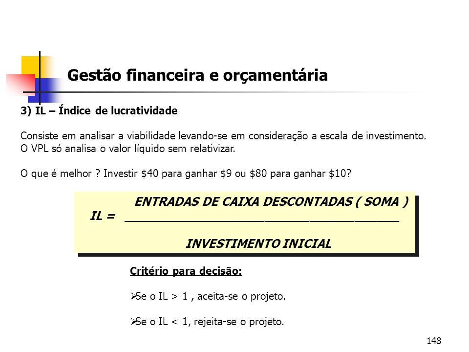 148 Gestão financeira e orçamentária 3) IL – Índice de lucratividade Consiste em analisar a viabilidade levando-se em consideração a escala de investi