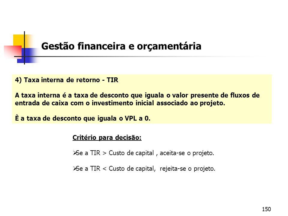 150 4) Taxa interna de retorno - TIR A taxa interna é a taxa de desconto que iguala o valor presente de fluxos de entrada de caixa com o investimento