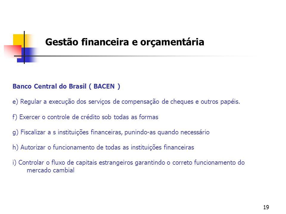 19 Banco Central do Brasil ( BACEN ) e) Regular a execução dos serviços de compensação de cheques e outros papéis. f) Exercer o controle de crédito so