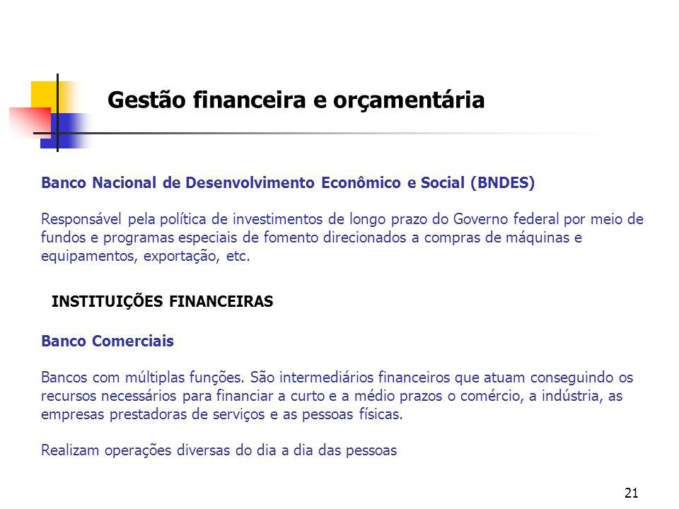 21 Banco Nacional de Desenvolvimento Econômico e Social (BNDES) Responsável pela política de investimentos de longo prazo do Governo federal por meio