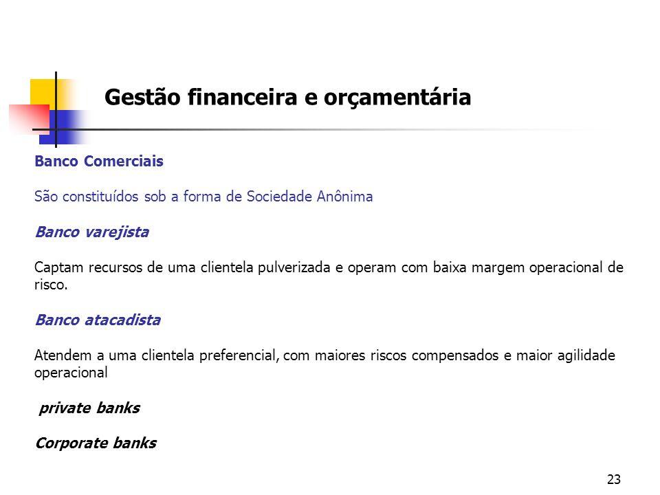 23 Gestão financeira e orçamentária Banco Comerciais São constituídos sob a forma de Sociedade Anônima Banco varejista Captam recursos de uma clientel
