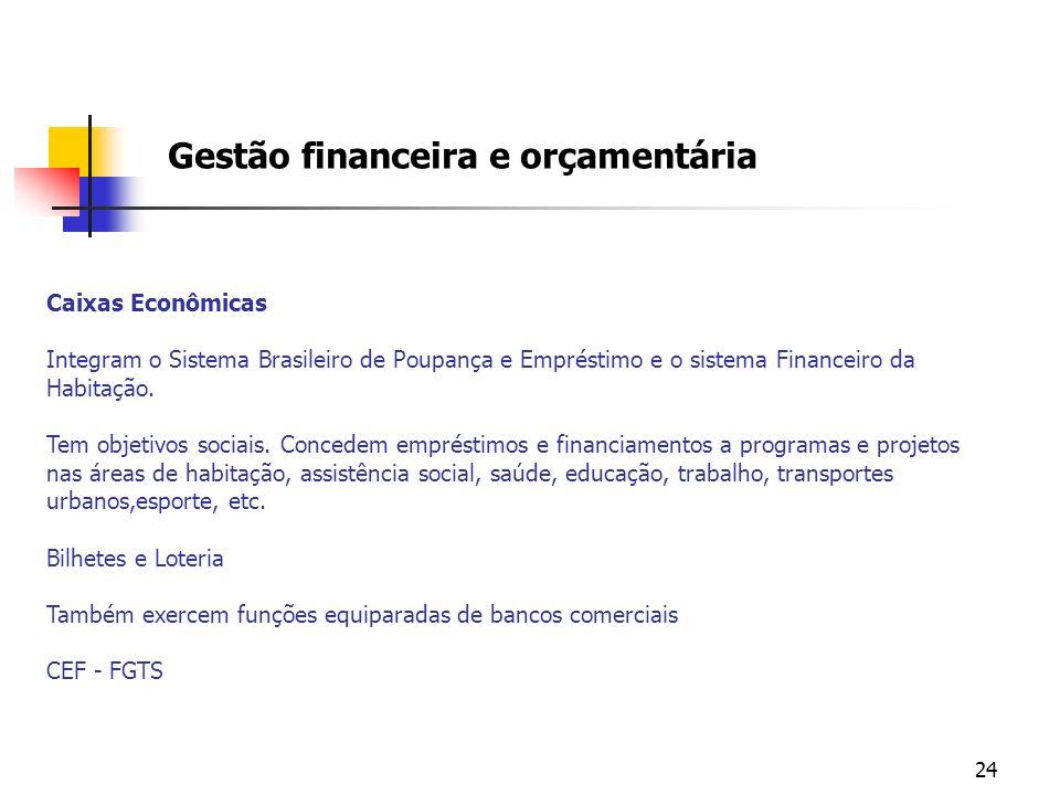 24 Gestão financeira e orçamentária Caixas Econômicas Integram o Sistema Brasileiro de Poupança e Empréstimo e o sistema Financeiro da Habitação. Tem