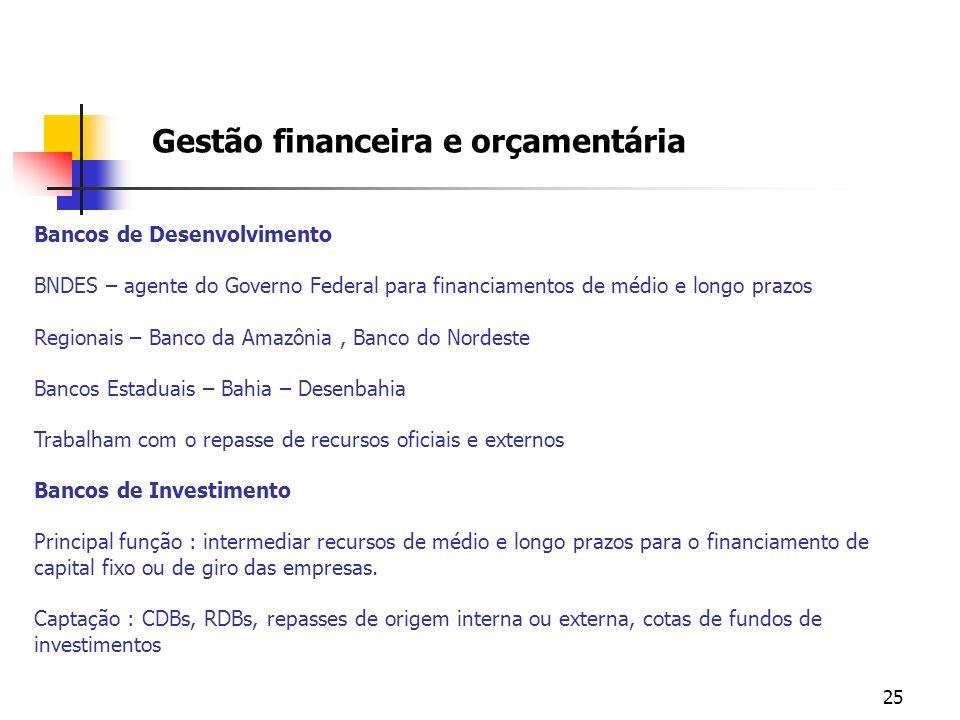 25 Gestão financeira e orçamentária Bancos de Desenvolvimento BNDES – agente do Governo Federal para financiamentos de médio e longo prazos Regionais