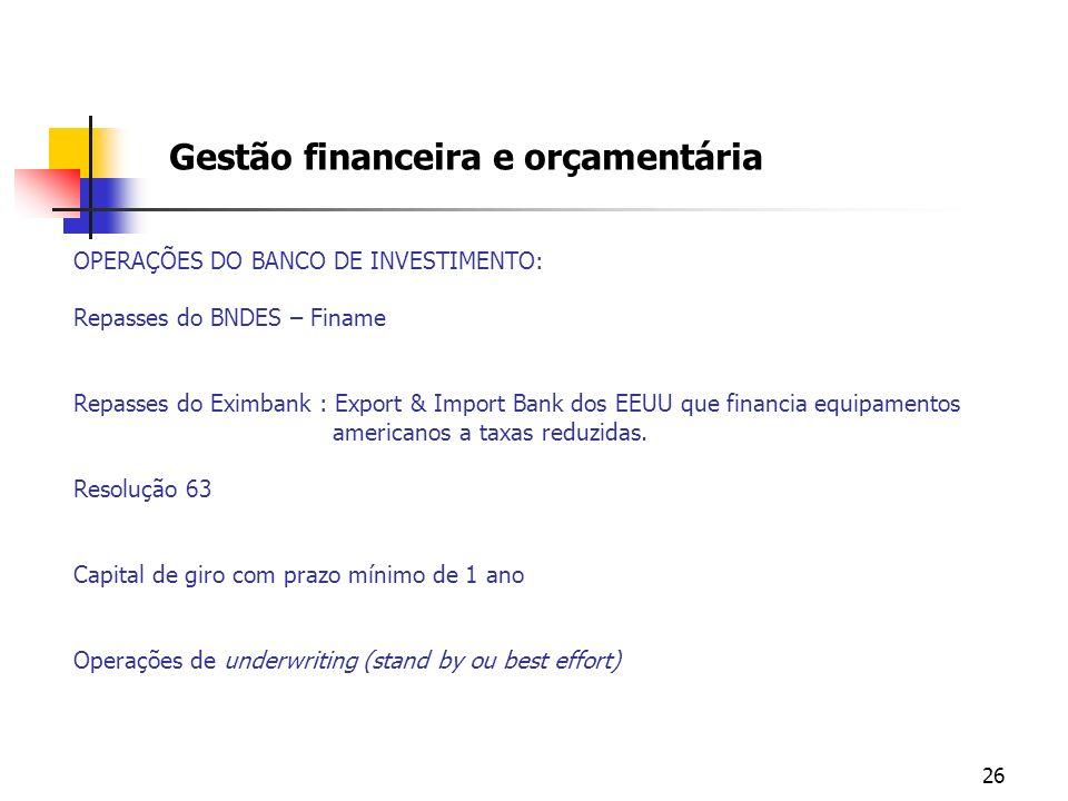 26 OPERAÇÕES DO BANCO DE INVESTIMENTO: Repasses do BNDES – Finame Repasses do Eximbank : Export & Import Bank dos EEUU que financia equipamentos ameri