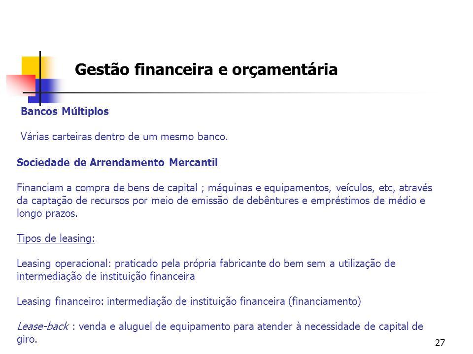 27 Gestão financeira e orçamentária Sociedade de Arrendamento Mercantil Financiam a compra de bens de capital ; máquinas e equipamentos, veículos, etc