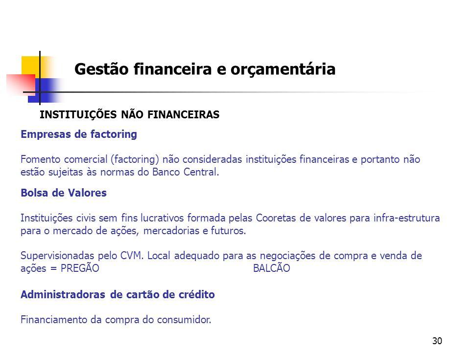 30 INSTITUIÇÕES NÃO FINANCEIRAS Empresas de factoring Fomento comercial (factoring) não consideradas instituições financeiras e portanto não estão suj