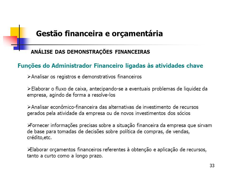 33 Funções do Administrador Financeiro ligadas às atividades chave Gestão financeira e orçamentária Analisar os registros e demonstrativos financeiros