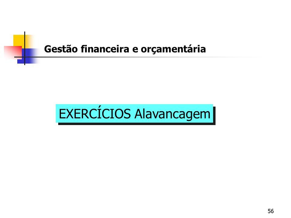 56 Gestão financeira e orçamentária EXERCÍCIOS Alavancagem