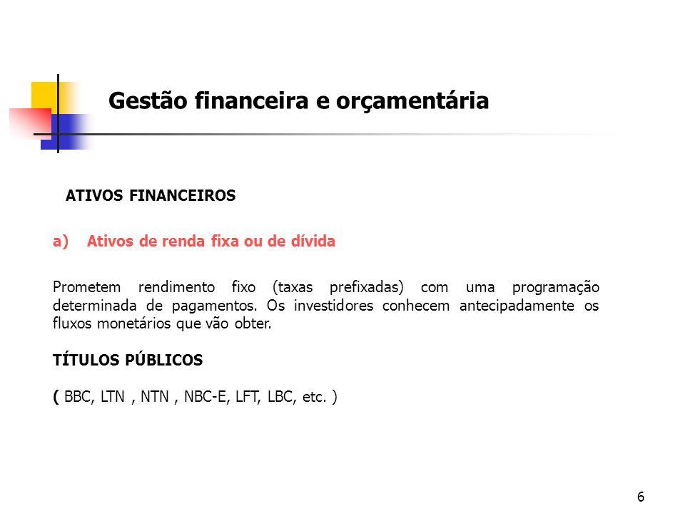 6 Gestão financeira e orçamentária ATIVOS FINANCEIROS a)Ativos de renda fixa ou de dívida Prometem rendimento fixo (taxas prefixadas) com uma programa