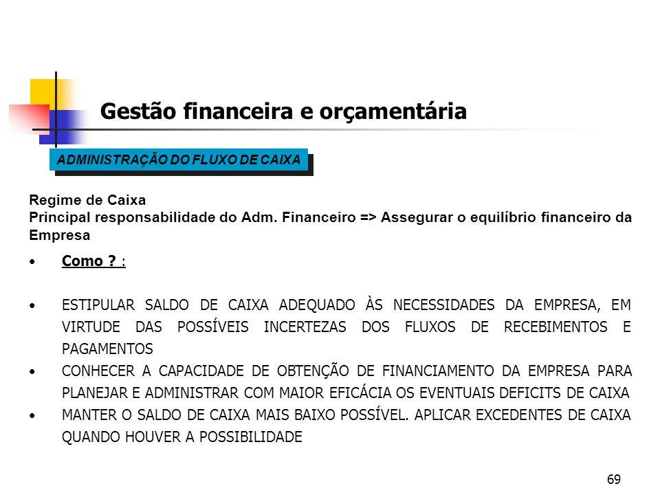69 Gestão financeira e orçamentária ADMINISTRAÇÃO DO FLUXO DE CAIXA Regime de Caixa Principal responsabilidade do Adm. Financeiro => Assegurar o equil