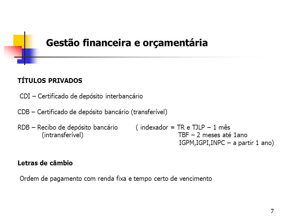 7 Gestão financeira e orçamentária TÍTULOS PRIVADOS CDI – Certificado de depósito interbancário CDB – Certificado de depósito bancário (transferível)