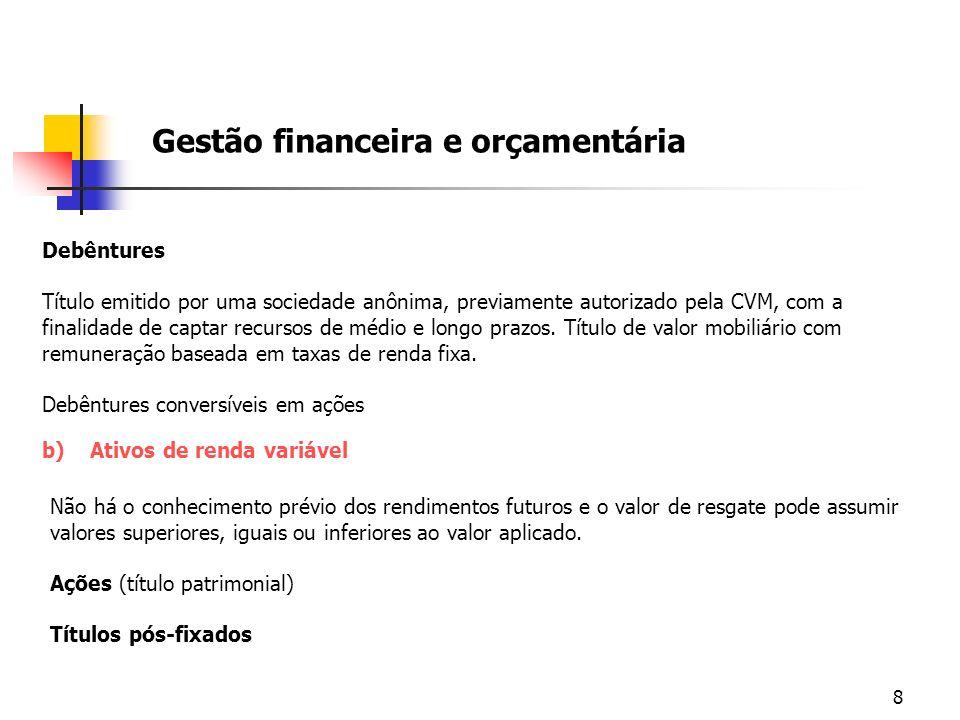 8 Gestão financeira e orçamentária Debêntures Título emitido por uma sociedade anônima, previamente autorizado pela CVM, com a finalidade de captar re
