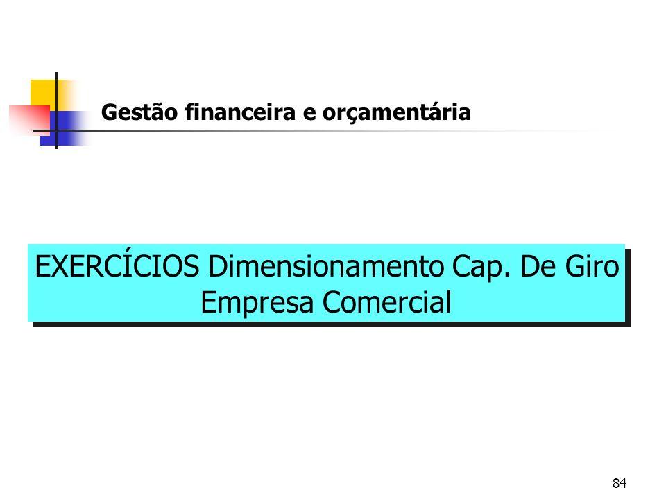84 Gestão financeira e orçamentária EXERCÍCIOS Dimensionamento Cap. De Giro Empresa Comercial EXERCÍCIOS Dimensionamento Cap. De Giro Empresa Comercia
