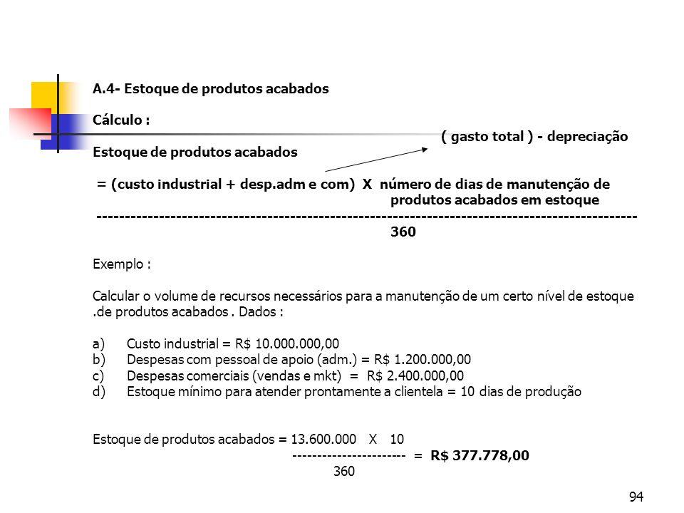 94 A.4- Estoque de produtos acabados Cálculo : ( gasto total ) - depreciação Estoque de produtos acabados = (custo industrial + desp.adm e com) X núme