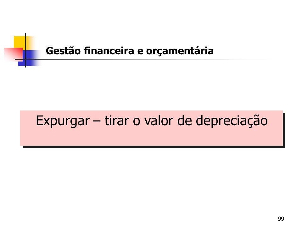 99 Gestão financeira e orçamentária Expurgar – tirar o valor de depreciação Expurgar – tirar o valor de depreciação