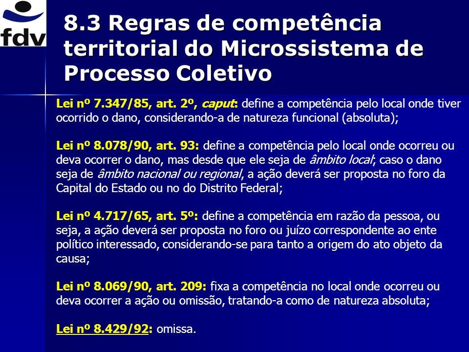 8.3 Regras de competência territorial do Microssistema de Processo Coletivo Lei nº 7.347/85, art. 2º, caput: define a competência pelo local onde tive
