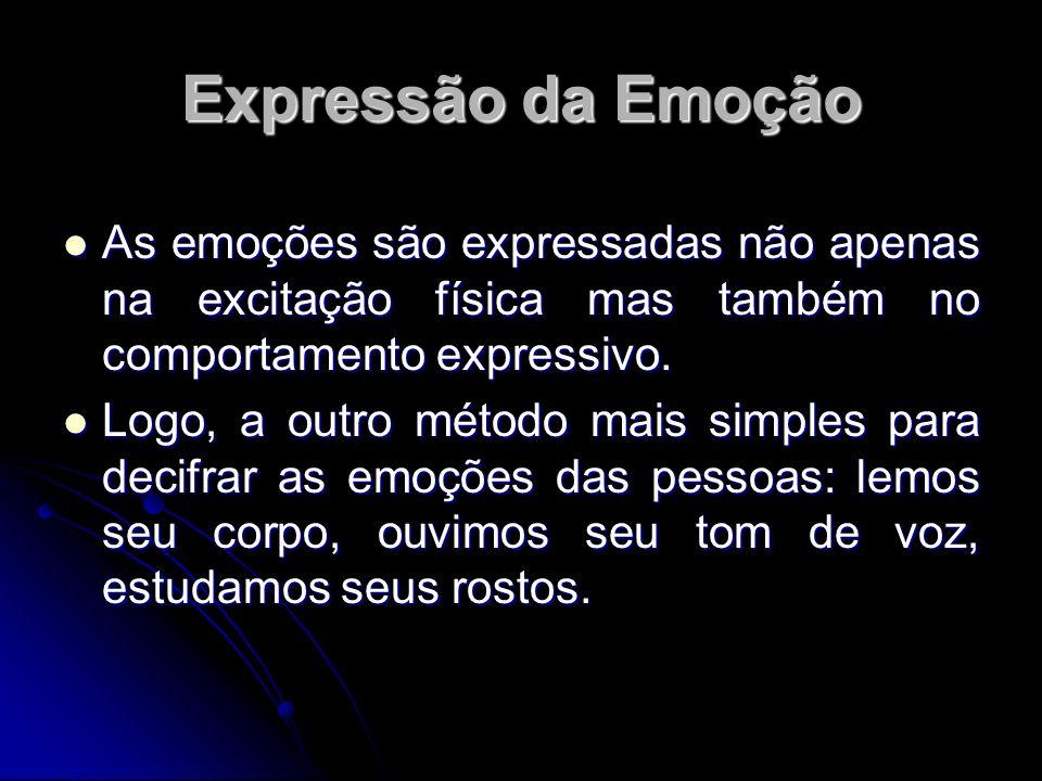 Expressão da Emoção As emoções são expressadas não apenas na excitação física mas também no comportamento expressivo. As emoções são expressadas não a