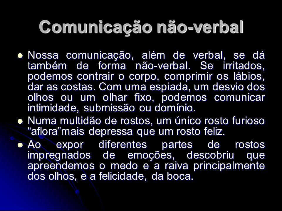 Comunicação não-verbal Nossa comunicação, além de verbal, se dá também de forma não-verbal. Se irritados, podemos contrair o corpo, comprimir os lábio